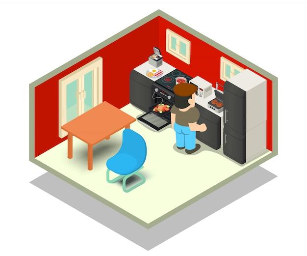 Cena do conceito de cozinha