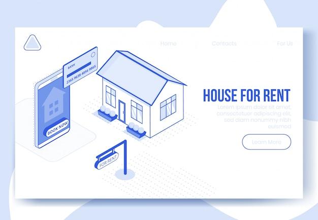 Cena do conceito de design digital isométrica de aluguel de casa