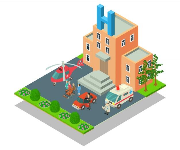 Cena do conceito de hospital clínico