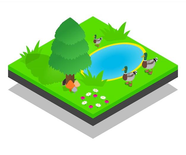 Cena do conceito de lagoa