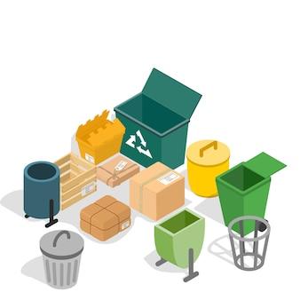 Cena do conceito de lata de lixo