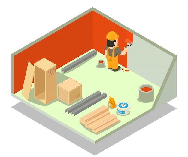 Cena do conceito de reparação de quarto
