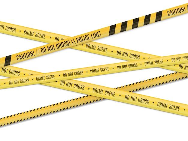 Cena do crime. aviso de perigo. cerca de fita.