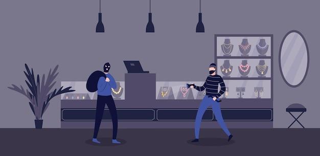 Cena do crime de roubo de joalheria com ilustração plana de assaltantes