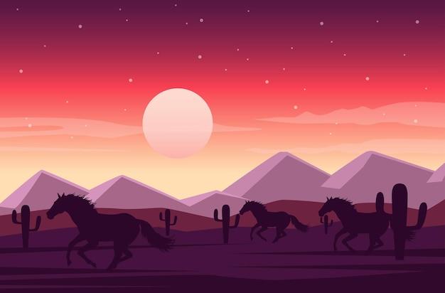 Cena do deserto ao pôr do sol no oeste selvagem com cavalos correndo