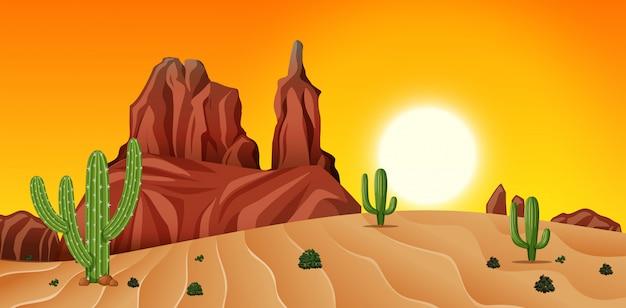 Cena do deserto ao pôr do sol