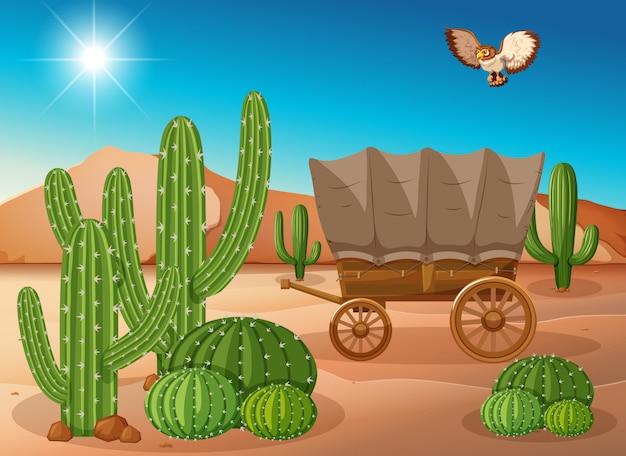 Cena do deserto com carroça e cacto