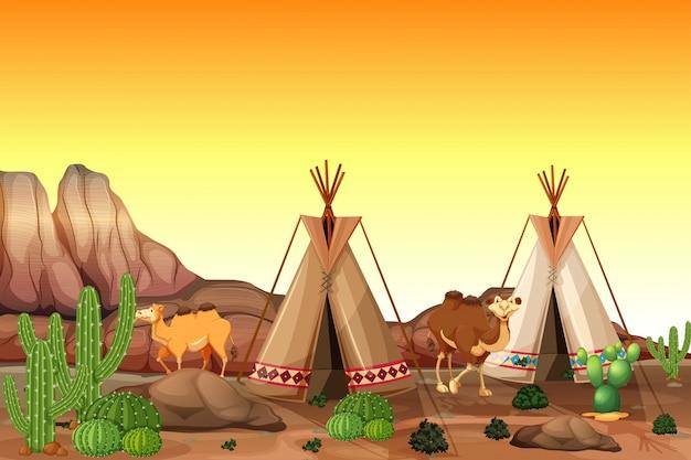 Cena do deserto com tendas e camelos