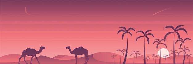 Cena do deserto e oásis