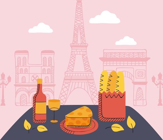 Cena do dia de piquenique em paris