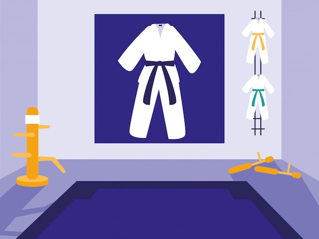 Cena do dojo das artes marciais
