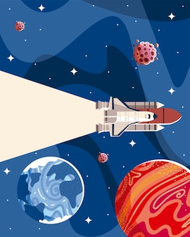 Cena do espaço com planetas, estrelas e galáxias de espaçonaves na ilustração de exploração externa