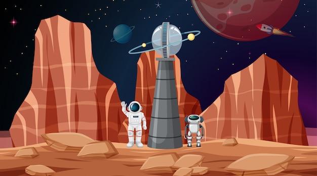 Cena do espaço do astronauta