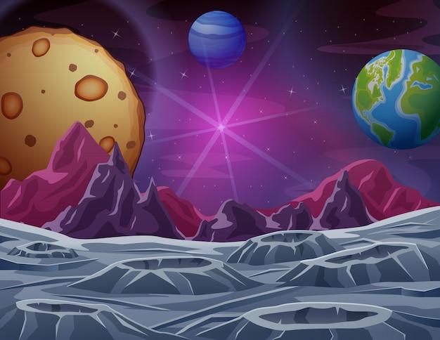 Cena do espaço sideral com ilustração de muitos planetas
