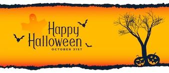 Cena do festival de Halloween com árvore, voando morcegos e abóboras