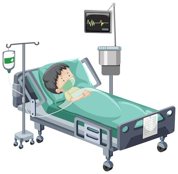 Cena do hospital com paciente doente na cama no fundo branco