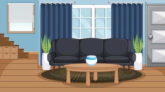 Cena do interior da sala de estar com móveis e decoração de sala de estar