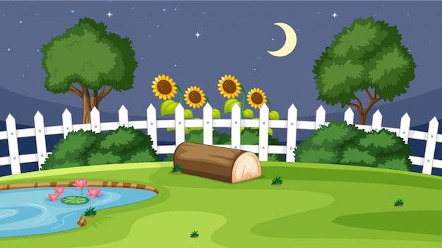 Cena do jardim à noite