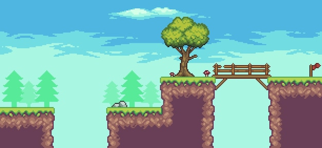 Cena do jogo de fliperama pixel art com árvore, ponte, pedras e nuvens