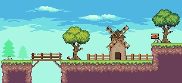 Cena do jogo de fliperama pixel art com plataforma flutuante, moinho, ponte, árvores, cerca e nuvens