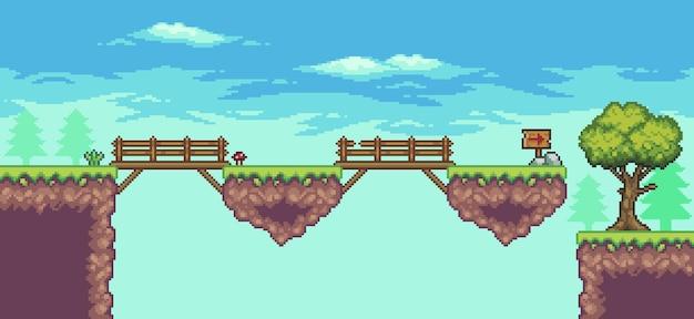 Cena do jogo de fliperama pixel art com plataforma flutuante, ponte, árvores, nuvens e bandeira de 8 bits