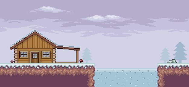 Cena do jogo de pixel art na neve com casa de madeira, pinheiros, nuvens de lago congeladas e fundo de 8 bits