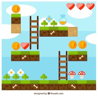 Cena do jogo de vídeo plataforma