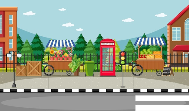 Cena do lado da rua com carrinho de flores e carrinho de frutas