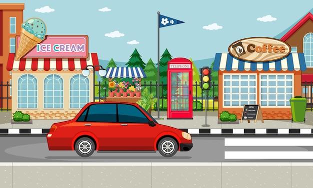 Cena do lado da rua com sorveteria, cafeteria e carro vermelho na rua