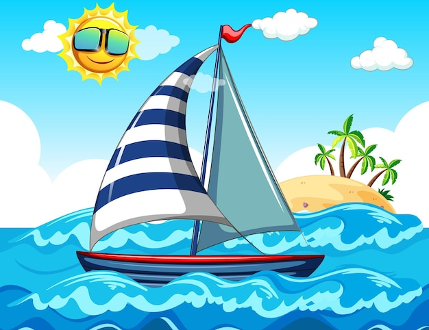 Cena do mar com um veleiro
