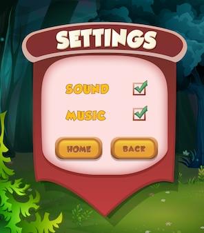 Cena do menu de pausa aparece com música e botões sonoros jogo menu completo ui