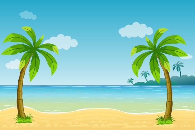 Cena do oceano com coqueiro na praia e a ilustração do sol