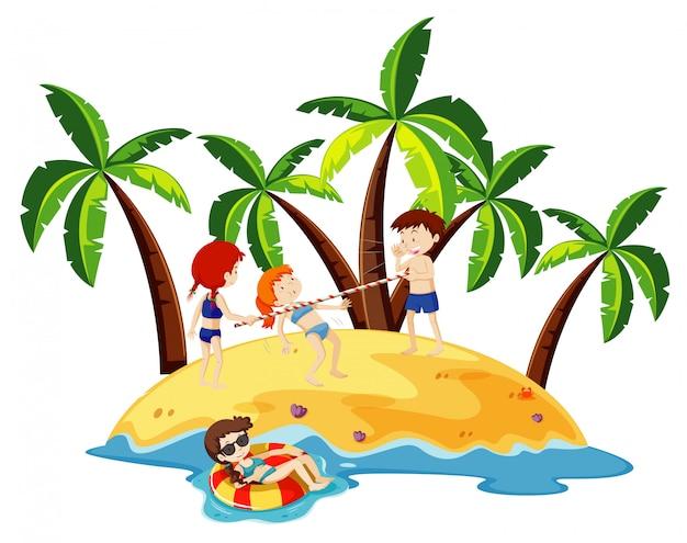 Cena do oceano com crianças felizes brincando