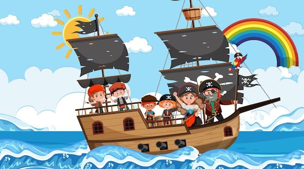 Cena do oceano durante o dia com crianças piratas no navio