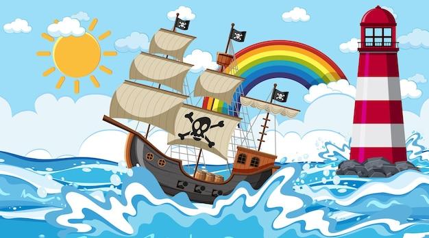 Cena do oceano durante o dia com o navio pirata em estilo cartoon