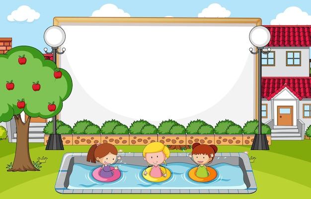 Cena do parque com banner em branco e muitas crianças doodle personagem de desenho animado