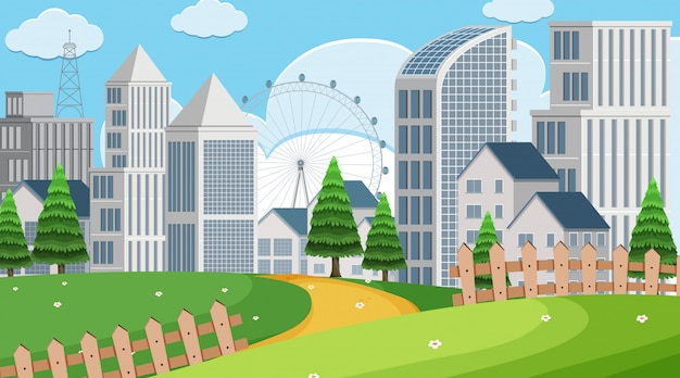 Cena do parque com edifícios