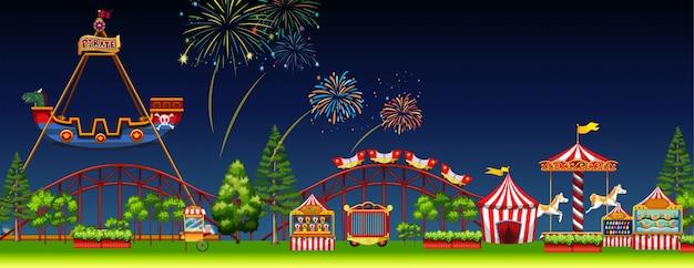 Cena do parque de diversões à noite