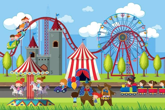 Cena do parque de diversões com roda gigante