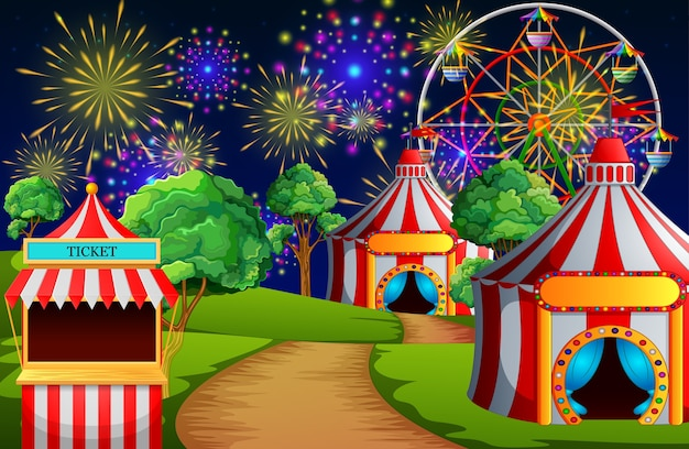 Cena do parque de diversões com tenda de circo e fogo de artifício