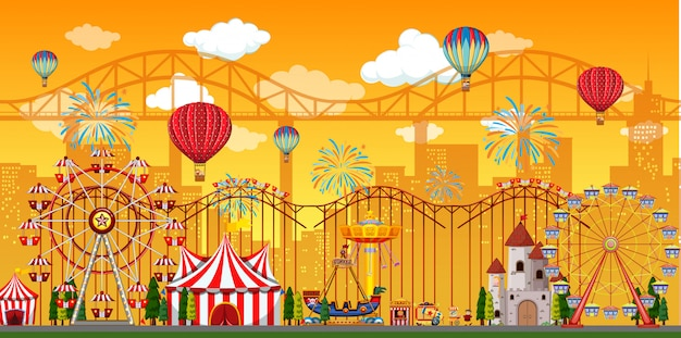 Cena do parque de diversões durante o dia com balões e fogo de artifício no céu