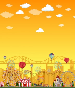 Cena do parque de diversões durante o dia com o céu amarelo em branco
