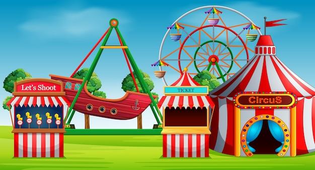 Cena do parque de diversões no dia