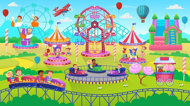 Cena do parque temático com carrossel de carrossel de carros elétricos e cama elástica parque de diversões