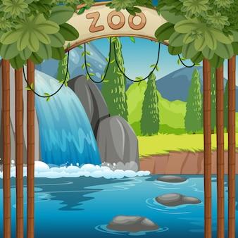 Cena do parque zoológico com cachoeira