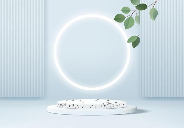 Cena do pódio de exibição do produto com fundo azul 3d com plataforma geométrica de folhas