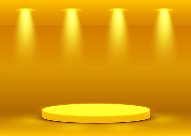 Cena do pódio do palco para cerimônia de premiação iluminada com holofotes. conceito de cerimônia de premiação. cenário do palco. ilustração vetorial