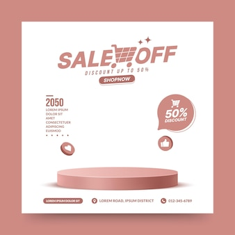 Cena do pódio do produto de venda em branco para pós de mídia social palco de pedestal rosa para apresentação do produto