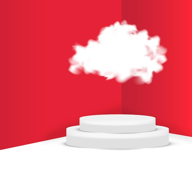 Cena do pódio em nuvem 3d para exibição ou colocação do produto