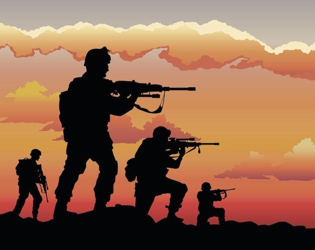 Cena do pôr do sol de quatro soldados